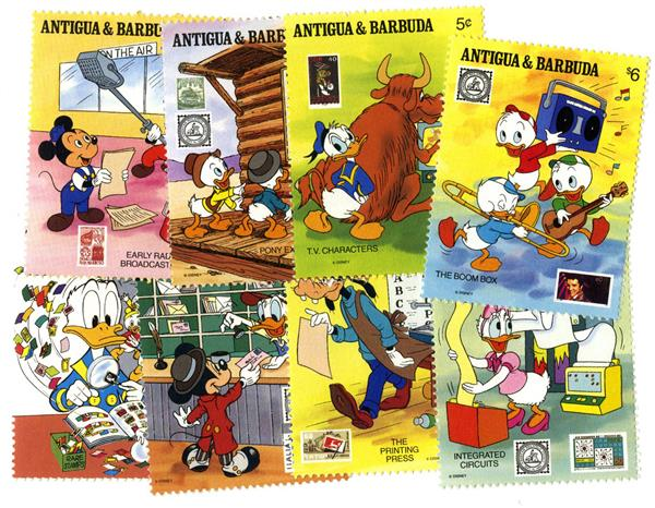 1989 Disney Friends at APS Stamp Show, Mint, Set of 8 Stamps, Antigua-Barbuda