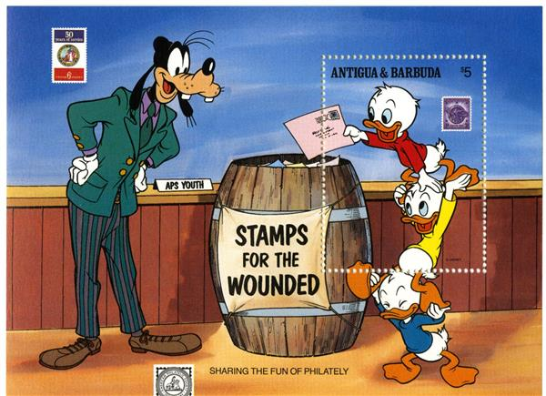 1989 Disney Friends At APS Stamp Show, Mint Souvenir Sheet, Antigua-Barbuda