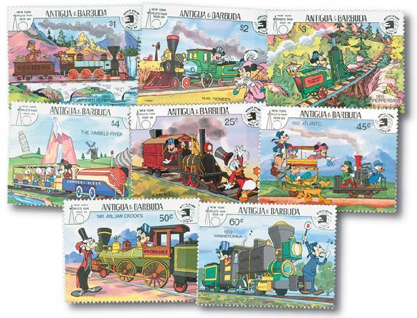1989 Disneys Trains - Friends Ride the Rails, Mint, Set of 8 Stamps, Antigua-Barbuda