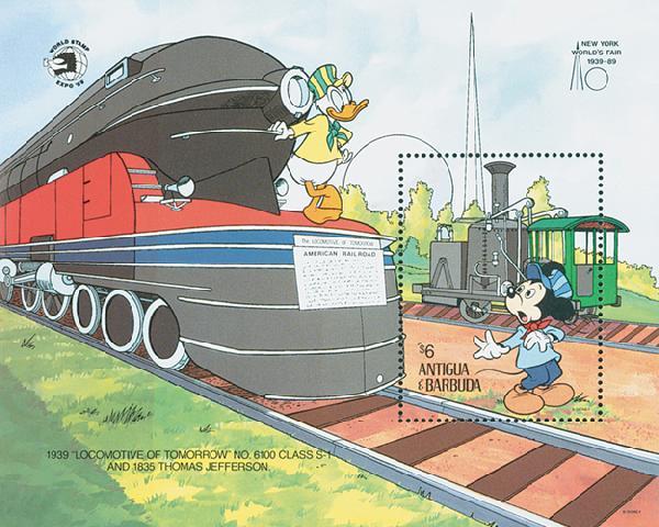 1989 Disneys Trains - Friends Ride the Rails, Mint Souvenir Sheet, Antigua-Barbuda