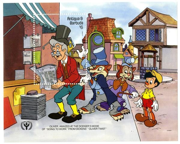1990 Disneys International Year of The Child - Charles Dickens Characters, Mint Souvenir Sheet, Antigua-Barbuda