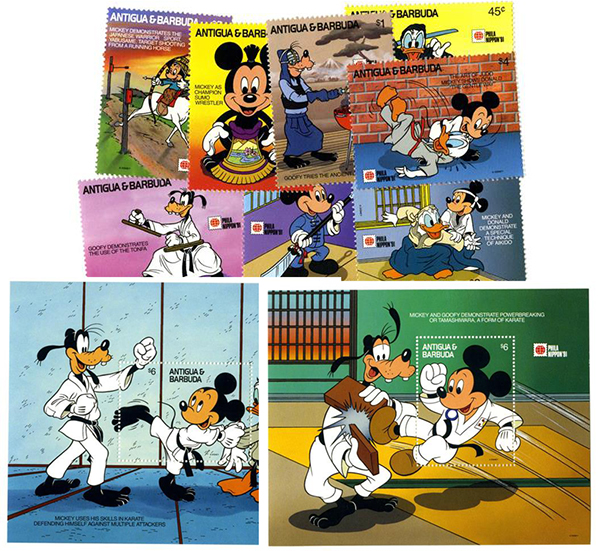 1991 Disney & Friends At PHILANIPPON Stamp Show, Mint, Set of 8 Stamps and 2 Souvenir Sheets, Antigua-Barbuda