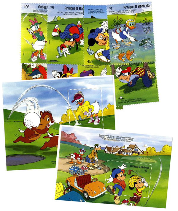 1991 Disney Friends -  Play Golf, Mint, Set of 8 Stamps and 2 Souvenir Sheets, Antigua-Barbuda