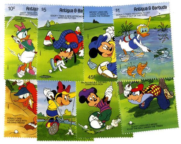 1991 Disney Friends -  Play Golf, Mint, Set of 8 Stamps, Antigua-Barbuda