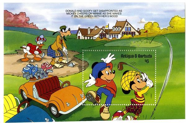 1991 Disney Friends - Play Golf, Mint Souvenir Sheet, Antigua-Barbuda