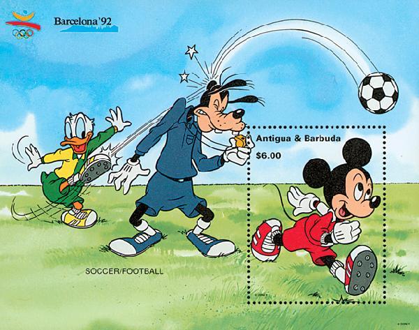 1992 Disneys Barcelona Summer Olympics, Mint Souvenir Sheet, Antigua-Barbuda