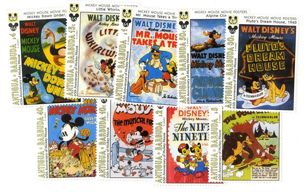 Antigua 1993 Movie Posters, 9 Stamps