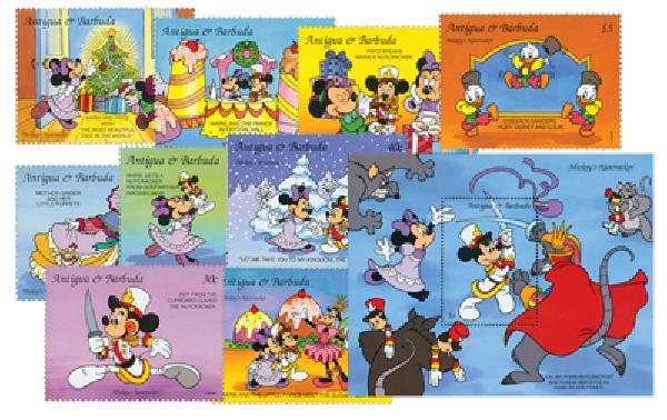 1993 Disney Friends Christmas, Mint, Set of 9 Stamps and 2 Souvenir Sheets, Antigua-Barbuda