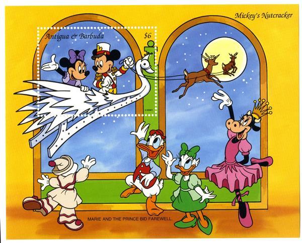 1993 Disney Friends Christmas, Mint Souvenir Sheet, Antigua-Barbuda