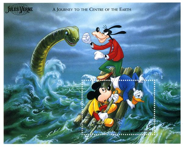 1996 Disney Friends Tribute to Jules Verne, Mint Souvenir Sheet, Antigua-Barbuda