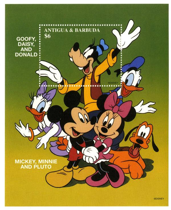 1997 Disney Honors Friendships, Mint Souvenir Sheet, Antigua-Barbuda