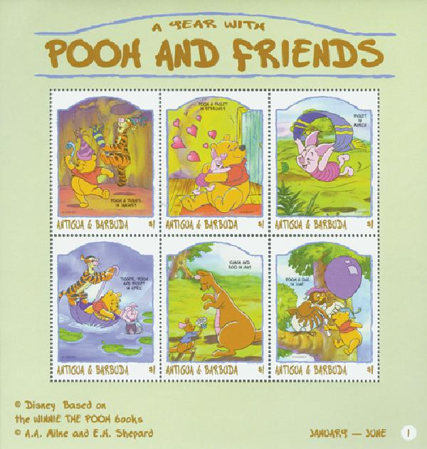 Antigua 1998 Pooh, Jan - June, 6 Stamps