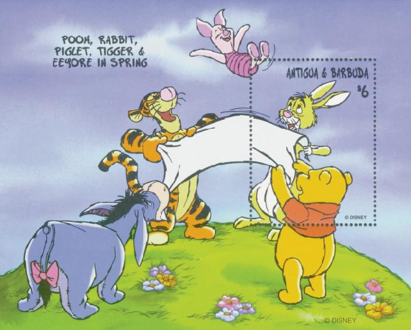 Antigua 1998 Pooh, Spring, Mint S/S