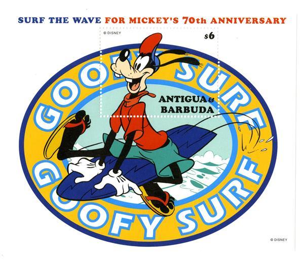 1998 Disney Celebrates Mickeys 70th Birthday, Mint Souvenir Sheet, Antigua-Barbuda