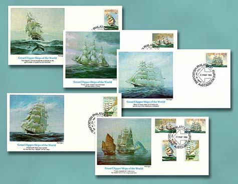 1984 Australia Clipper Ships 5 FDCs