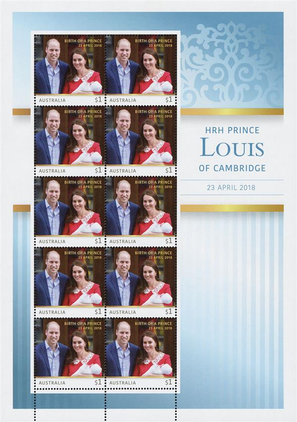 2018 $1 Will & Kate Holding Prince Louis of Cambridge sheet of 10 stamps