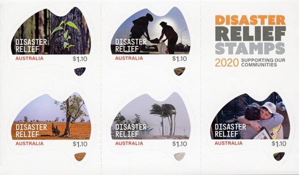 2020 $1.10 Disaster Relief, Mint Sheet of 5 Stamps, Australia