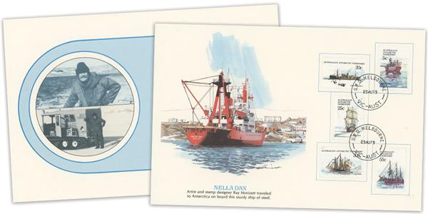 1979 Australian Antarctic Territory 'Ships of Discovery' Proof Card with 5 stamps