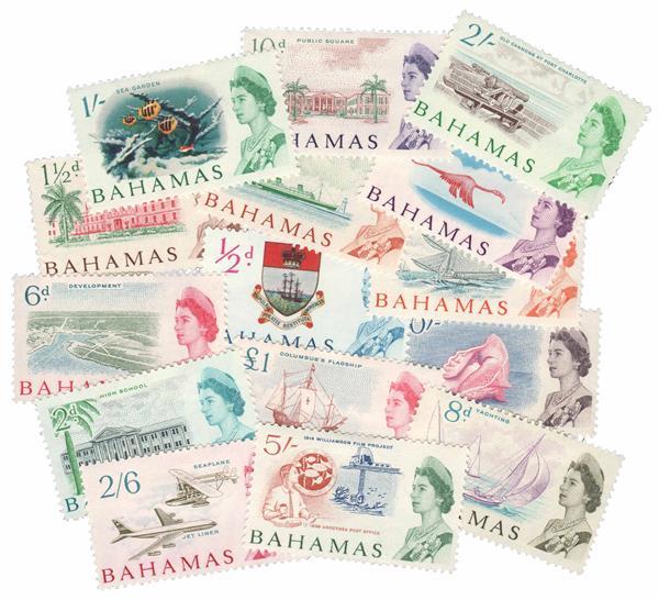 Set of 15 1965 Bahamas stamps