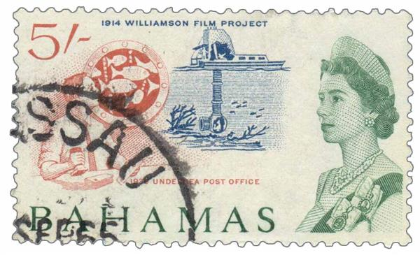 1965 Bahamas Williamson film project and undersea post office stamp
