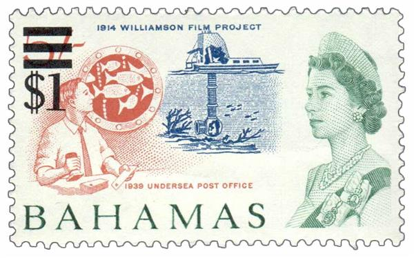1966 Bahamas surcharged Williamson film project and undersea post office stamp