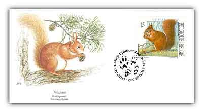 1992 Belgium 15fr Squirrel FDC
