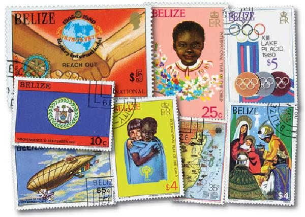 Belize, 100 stamps, Large