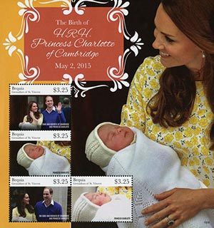 2015 $3.25 The Birth of Her Royal Highness - Princess Charlotte of Cambridge, Souvenir Sheet, 4 Stamps, Bequia