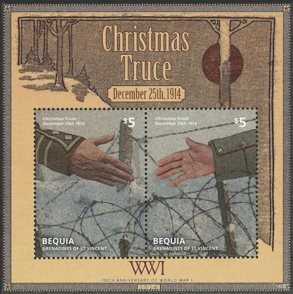 2014 $5 World War I; Christmas Truce Souvenir Sheet of 2