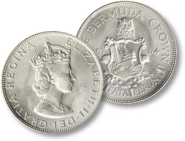 "1964 Bermuda ""Silver Crown"" features Queen Elizabeth II and Bermuda Coat of Arms"