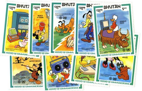 1984 Disney Celebrates the UN World Communications Year, Mint, Set of 9 Stamps, Bhutan