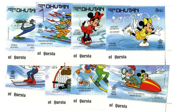 1988 Disneys Calgary-Alberta, Canada Winter Olympics, Mint, Set of 8 Stamps, Bhutan