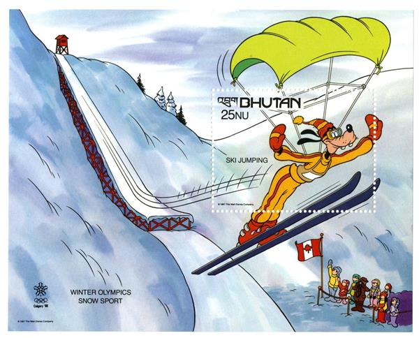 1988 Disneys Calgary-Alberta, Canada Winter Olympics, Mint Souvenir Sheet, Bhutan