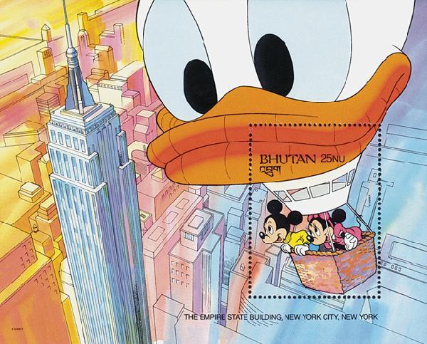 1991 Disneys Mickey and Friends Visit the Worlds Wonders, Mint Souvenir Sheet, Bhutan