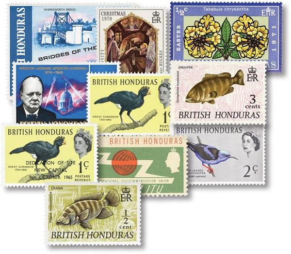 British Honduras 10 Different Stamps