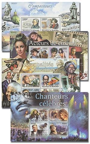 2011 Famous People, Mint, Set of 4 Sheets,($60 Scott Value), Burundi