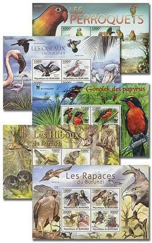 2011 Birds, Mint, Set of 5 Sheets,($75 Scott Value), Burundi