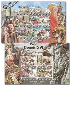 2011 Popes, Mint, Set of 2 Sheets, Burundi