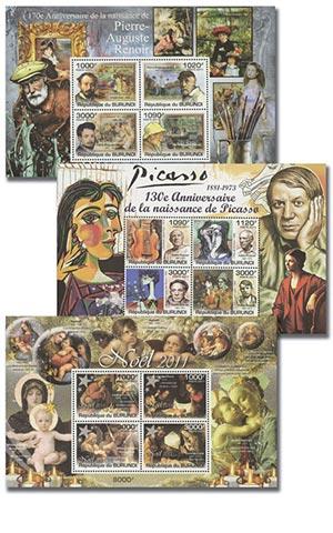Art & The Artists, Mint, Set of 3 Sheets/12 Stamps, Burundi