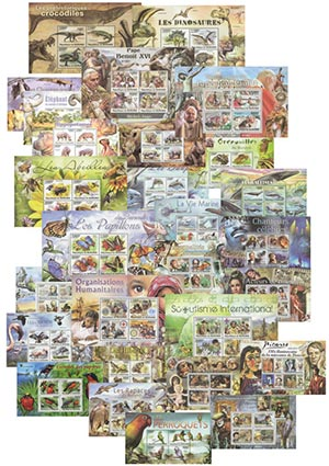 Giant Topical Stamp Collection, Mint, Set of 30 Souvenir Sheets, Burundi