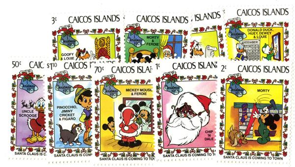 Caicos Islands 1983 Santa, 9 Mint Stamps