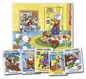 1984 Disney Friends Celebrate Christmas, Mint, Set of 5 Stamps and Souvenir Sheet, Caicos Islands