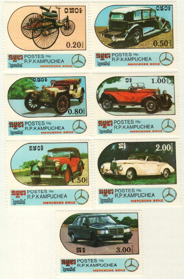 Cambodia #684-90 – Cambodia stamps picturing different models of Mercedes Benz.