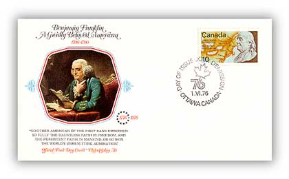 1976 10c Benjamin Franklin US Bicentennial