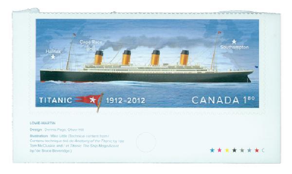 2012 Canada Titanic Booklet Single