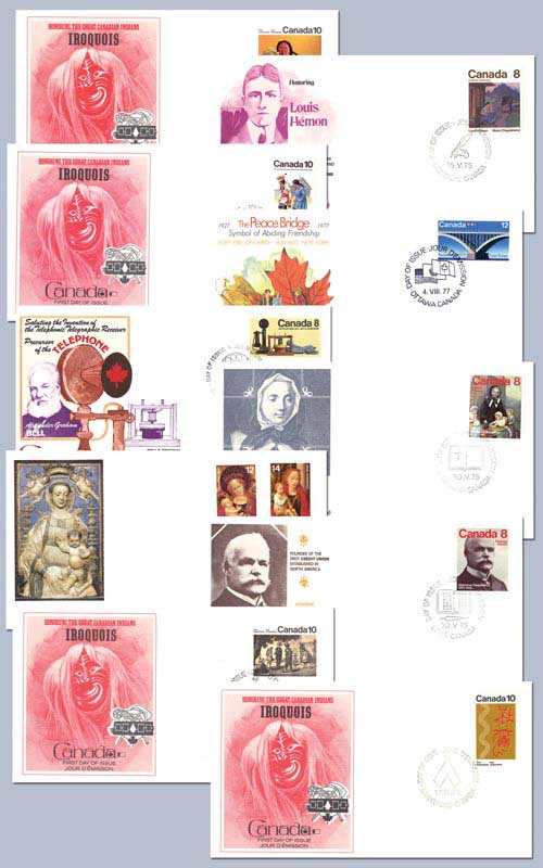 Collection of Ten Canadian First Day Covers, selection may vary