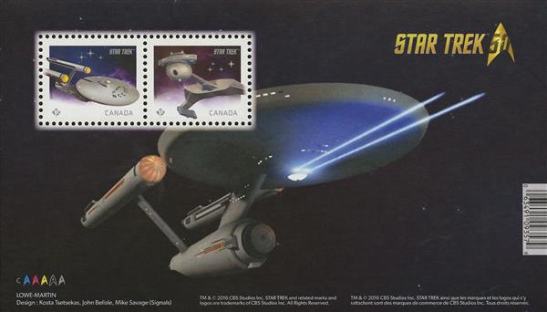 Item #M11675 – Star Trek 50th anniversary souvenir sheet.