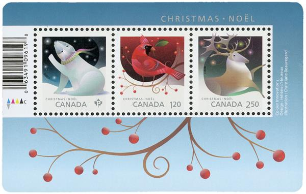 2017 Christmas-Animals, Mint Souvenir Sheet, Canada
