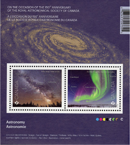 2018 The Milky Way and Northern Lights, Astronomy souvenir sheet of 2 stamps