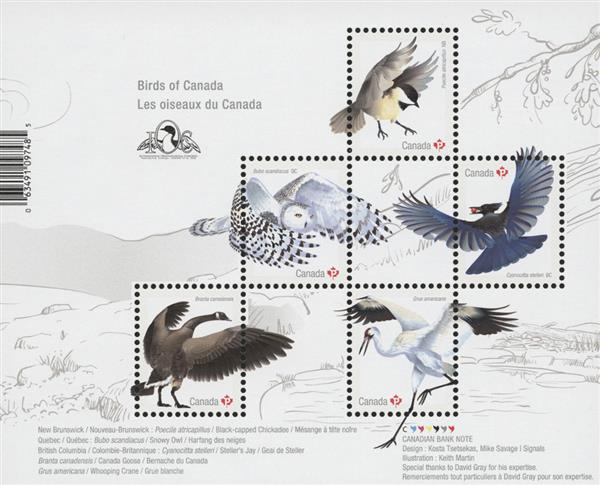 2018 Birds of Canada souvenir sheet of 5